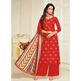 Craftsvilla Cotton Blend Red Embellished Unstitched Straight Palazzo Suit