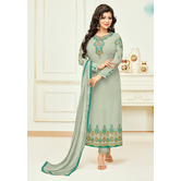 Craftsvilla Grey Georgette Embroidered Unstitched Salwar Suit