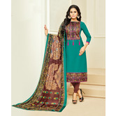 Craftsvilla Teal Green Color Cotton Printed Unstitched Traditional Straight Suit