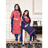 Craftsvilla Two Top Chanderi Cotton Embroidered Salwar Kameez Dupatta Material