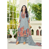 Craftsvilla Grey Color Cotton Embroidered Unstitched Straight Suit