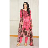 Craftsvilla Pink Satin Cotton Resham Embroidered Unstitched Salwar Suit