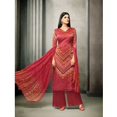 Craftsvilla Maroon Satin Cotton Printed Unstitched Salwar Suit