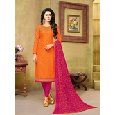 Craftsvilla Orange And Maroon Color Jacquard Cotton Embroidered Unstitched Straight Suit