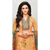 Craftsvilla Multicolor Cotton Aari Embroidered Unstitched Salwar Suit With Palazzo