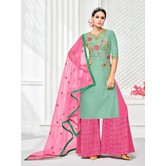 Craftsvilla Sea Green & Pink Mashlin Silk Embroidered Plazzo Suit