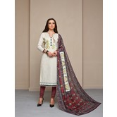 Craftsvilla White Color Cotton Blend Embroidered Unstitched Straight Suit