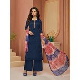 Craftsvilla Navy Blue Cotton Resham Embroidery Unstitched Salwar Suit With Palazzo