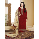 Craftsvilla Maroon Color Georgette Embroidered Unstitched Straight Suit