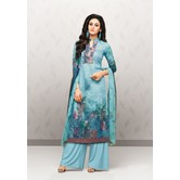 Craftsvilla Sky Blue Cotton Aari Embroidered Unstitched Salwar Suit With Palazzo