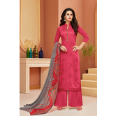 Craftsvilla Pink Cotton Resham Embroidery Unstitched Salwar Suit With Palazzo