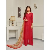 Craftsvilla Red Color Cotton Embroidered Unstitched Palazzo Suit