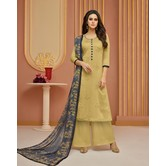 Craftsvilla Beige Cotton Resham Embroidery Unstitched Salwar Suit With Palazzo