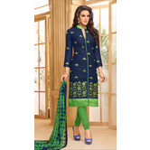Craftsvilla Blue Color Cotton Blend Embroidered Unstitched Salwar Suit
