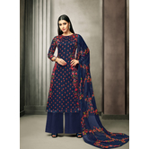 Craftsvilla Navy Satin Cotton Printed Unstitched Salwar Suit