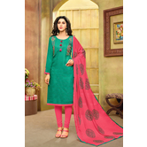 Craftsvilla Teal Green And Pink Color Jacquard Cotton Embroidered Unstitched Straight Suit