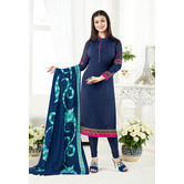 Craftsvilla Blue Color Crepe Embroidered Unstitched Straight Suit