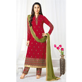 Craftsvilla Maroon Color Georgette Embroidered Semi-stitched Straight Suit