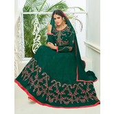 Craftsvilla Green Color Georgette Embroidered Unstitched Circular Anarkali Suit