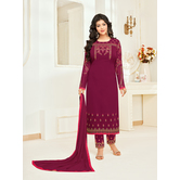Craftsvilla Magenta Georgette Embroidered Unstitched Salwar Suit