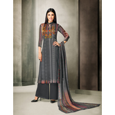 Craftsvilla Grey Satin Cotton Printed Unstitched Salwar Suit