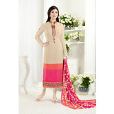 Craftsvilla Pink Color Crepe Embroidered Unstitched Straight Suit