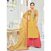 Craftsvilla Yellow & Pink Mashlin Silk Embroidered Plazzo Suit