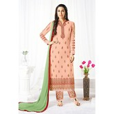 Craftsvilla Peach Color Georgette Embroidered Semi-stitched Straight Suit