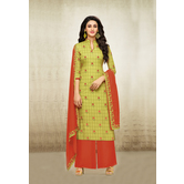 Craftsvilla Green Mashlin Silk Digital Printed Semi-stitched Salwar Suit
