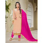Craftsvilla Pink Color Georgette Embroidered 3/4th Sleeves Unstitched Salwar Suit