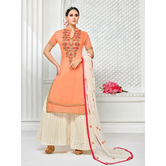 Craftsvilla Orange & Off White Mashlin Silk Embroidered Plazzo Suit