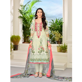 Craftsvilla Pista Green Color Cotton Embroidered Unstitched Straight Suit