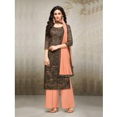 Craftsvilla Brown Mashlin Silk Digital Printed Semi-stitched Salwar Suit