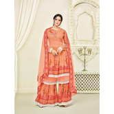 Craftsvilla Orange Georgette Printed Women\'s Sharara Suit