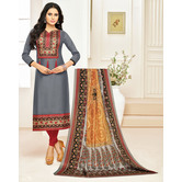 Craftsvilla Grey Color Cotton Printed Unstitched Traditional Straight Suit