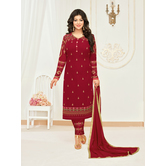 Craftsvilla Maroon Georgette Embroidered Unstitched Salwar Suit