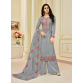 Craftsvilla Grey Uppada Silk Blend Embroidered Unstitched Salwar Suit