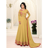 Craftsvilla Mustard Yellow Color Georgette Embroidered Unstitched Anarkali Suit