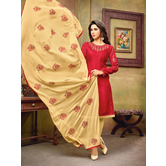 Craftsvilla Maroon And Beige Color Jacquard Cotton Embroidered Unstitched Straight Suit