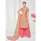 Craftsvilla Light Brown & Pink Mashlin Silk Embroidered Plazzo Suit