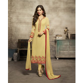 Craftsvilla Mustard Color Georgette Embroidered Unstitched Straight Churidar Suit
