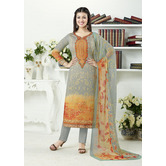 Craftsvilla Grey And Orange Color Georgette Embroidered Unstitched Straight Suit