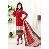 Craftsvilla Red Color Crepe Embroidered Unstitched Straight Suit