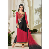 Craftsvilla Red And Black Color Georgette Embroidered 3/4th Sleeves Unstitched Salwar Suit