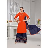 Craftsvilla Orange Rayon Resham Embroidery Semi-stitched Salwar Suit