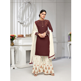 Craftsvilla Brown Rayon Resham Embroidery Semi-stitched Salwar Suit