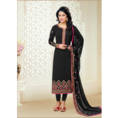 Craftsvilla Black Color Georgette Embroidered 3/4th Sleeves Unstitched Salwar Suit