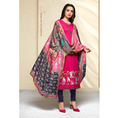 Craftsvilla Pink Color Cotton Blend Embroidered Unstitched Straight Suit