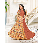 Craftsvilla Brown Color Satin And Silk Resham Embroidery A-line Designer Gown