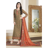 Craftsvilla Beige Color Georgette Embroidered Unstitched Straight Suit